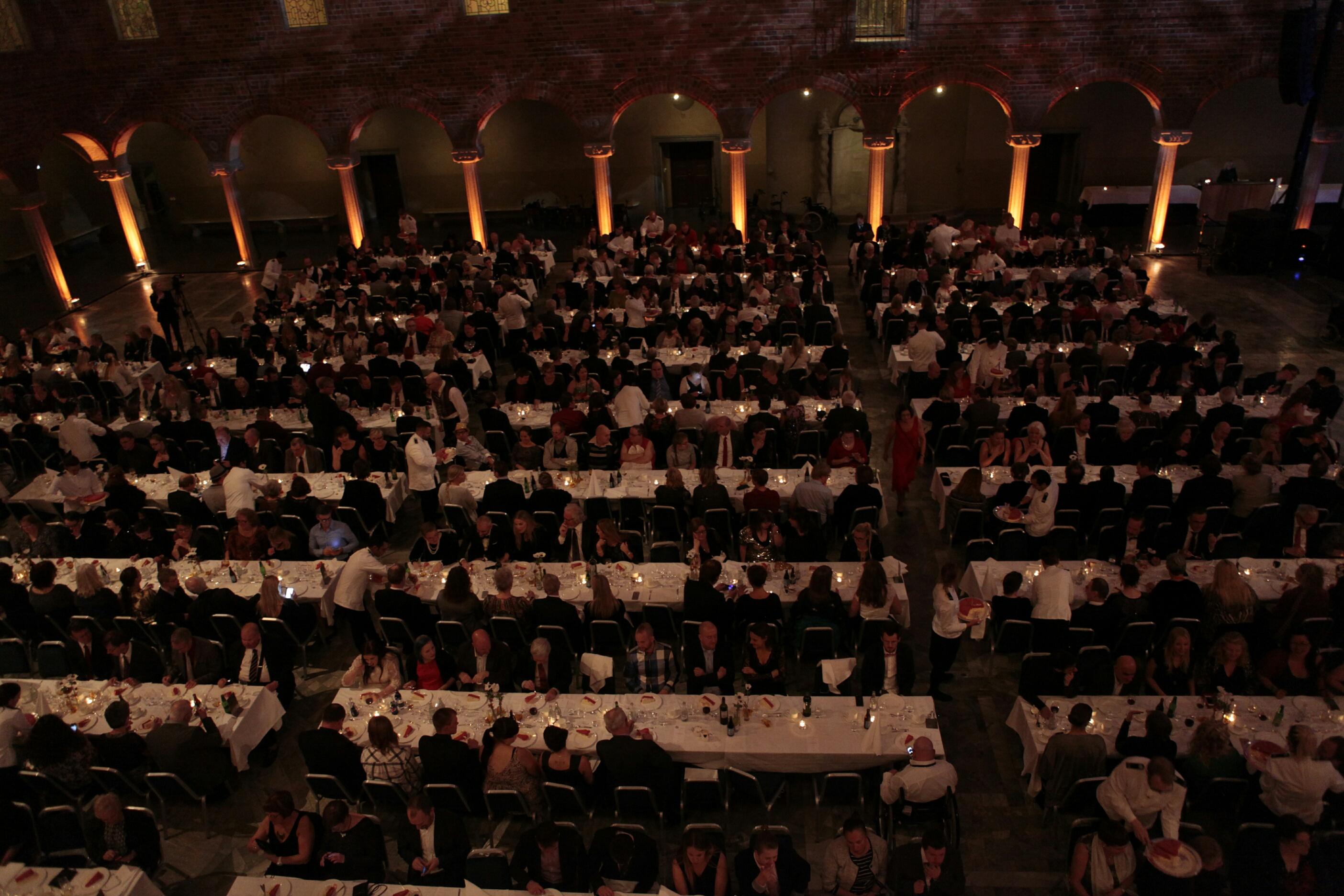Galadukade bord i Blå Hallen, Stockholms stadshus