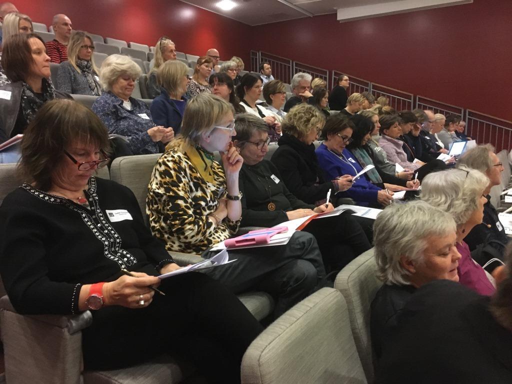 Deltagare på avslutningskonferens för Anpassad IT, Judith Timoney i förgrunden till vänster.