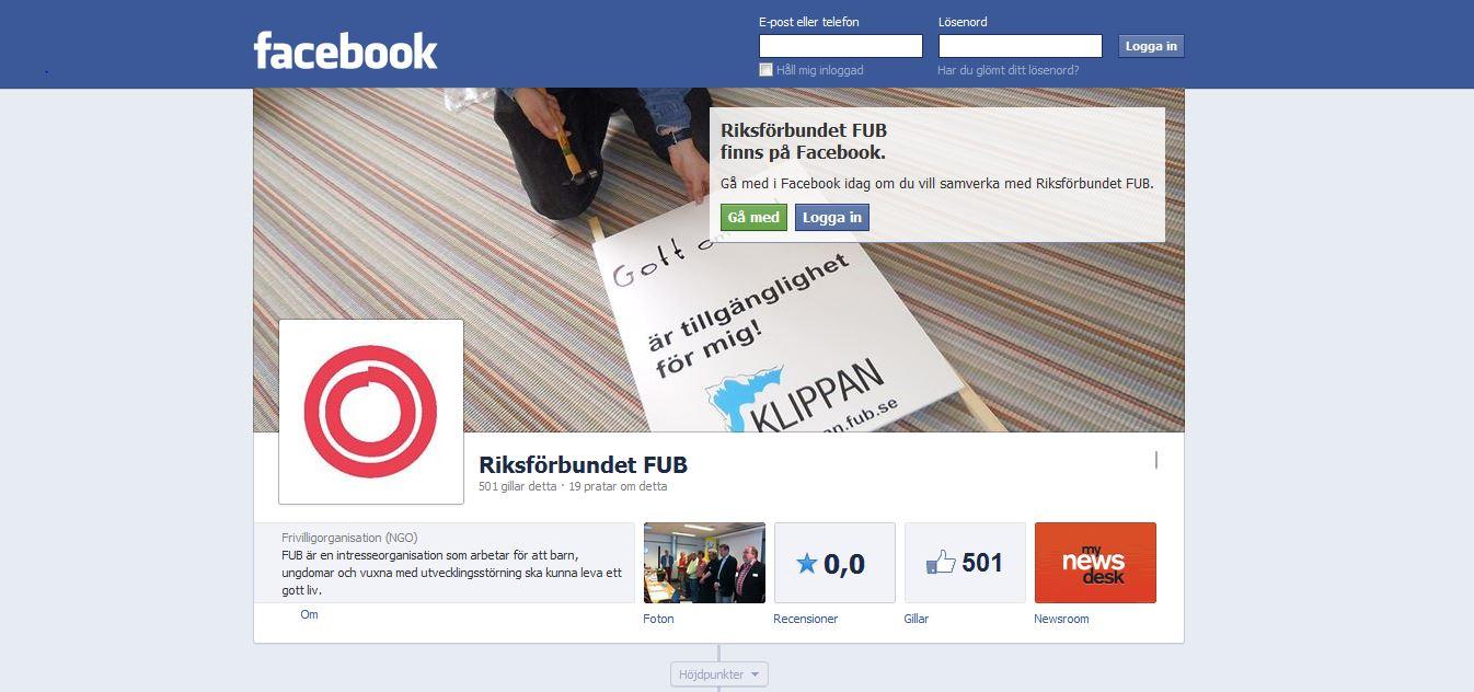 Facebooksidan - skärmklipp
