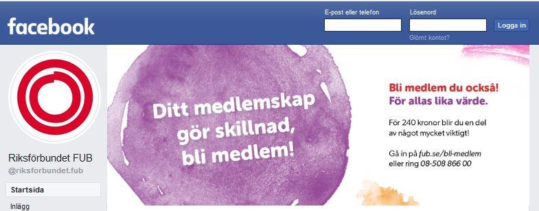 FUBs Facebooksida, länk till Facebook