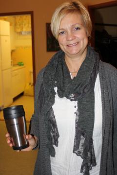 Anette valde termoskopp som hon ska ha kaffe i