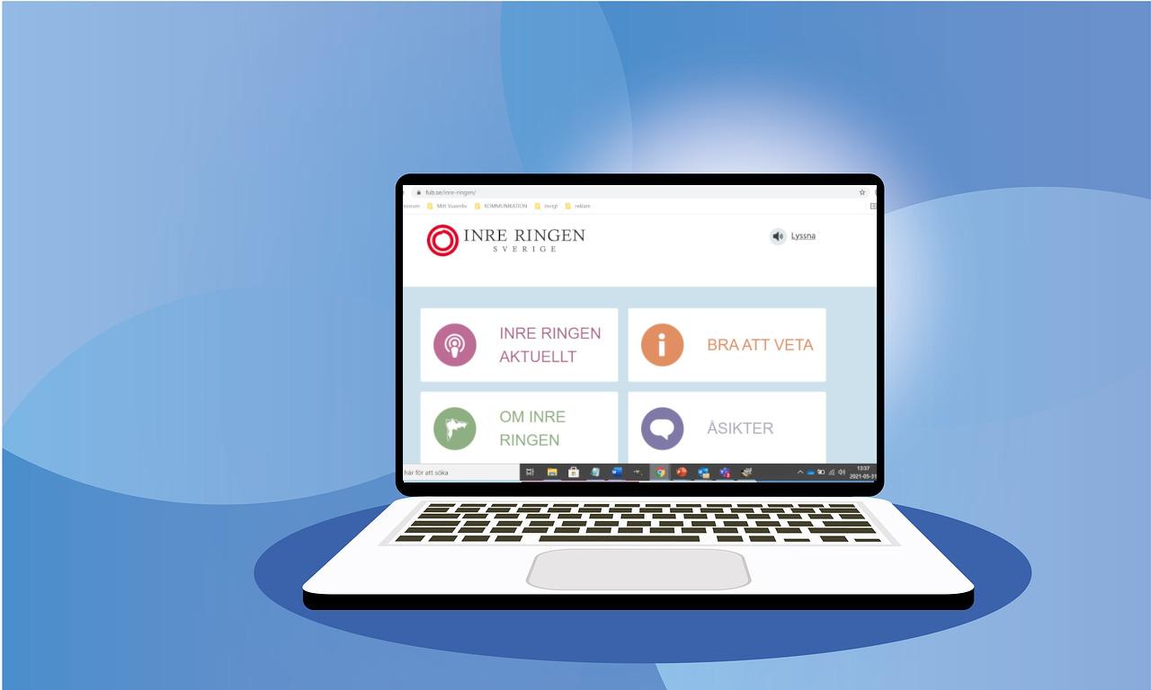 bärbar dator visar Inre Ringen Sveriges webbplats