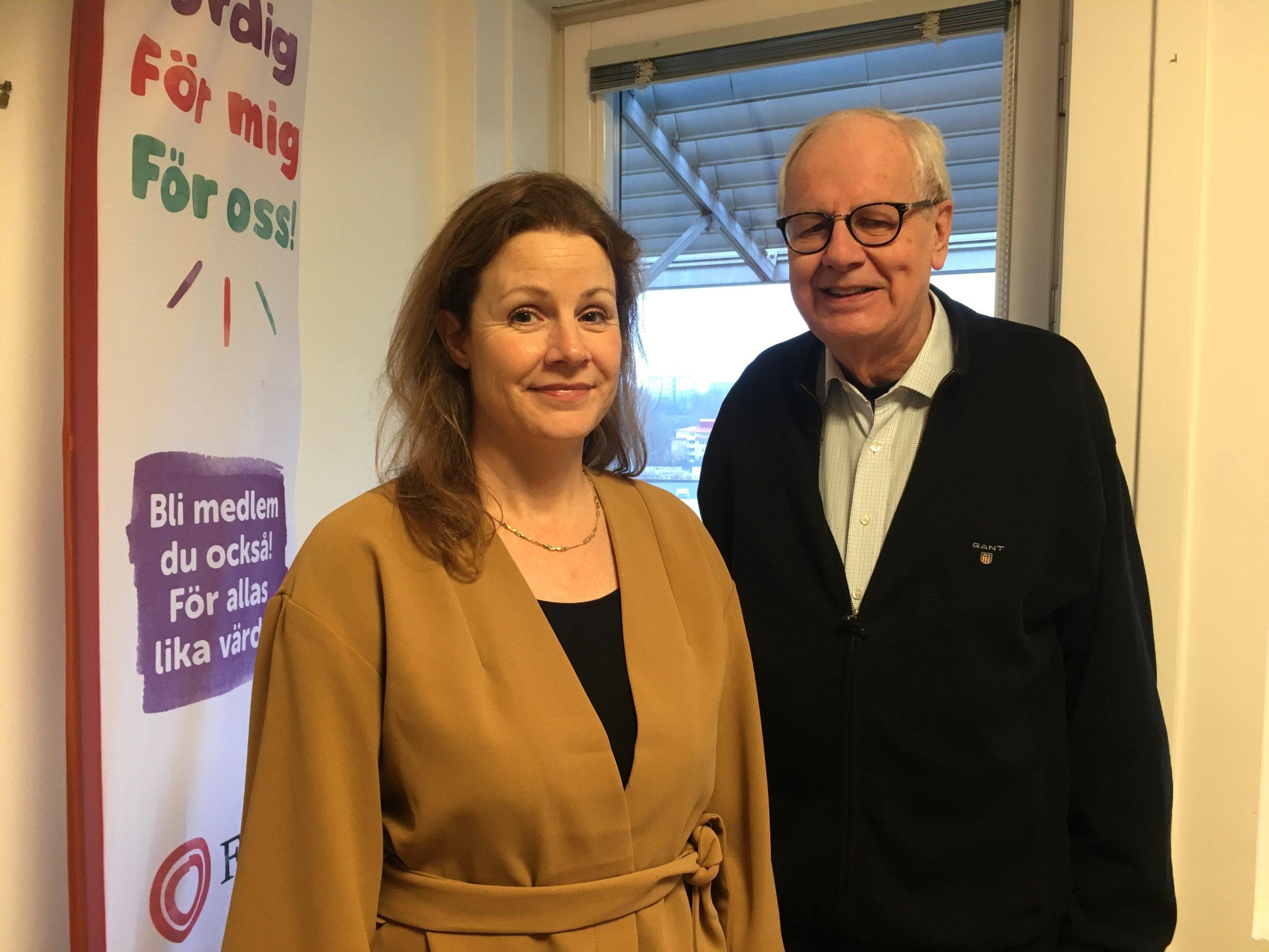 FUB:s tillträdande förbundssekreterare Christina Heilborn och förbundsordförande Harald Strand
