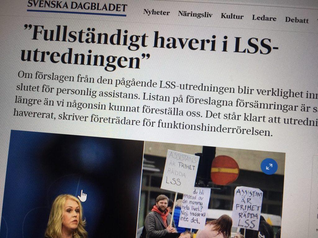 foto av skärm med debattartikel om LSS-utredningen i SvD