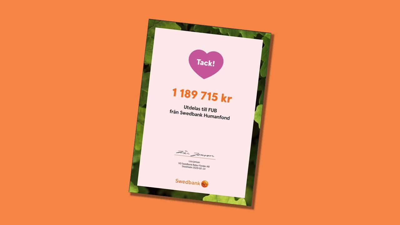 Diplom från Humanfonden visar utdelningen från 2019: 1 189 715 kronor