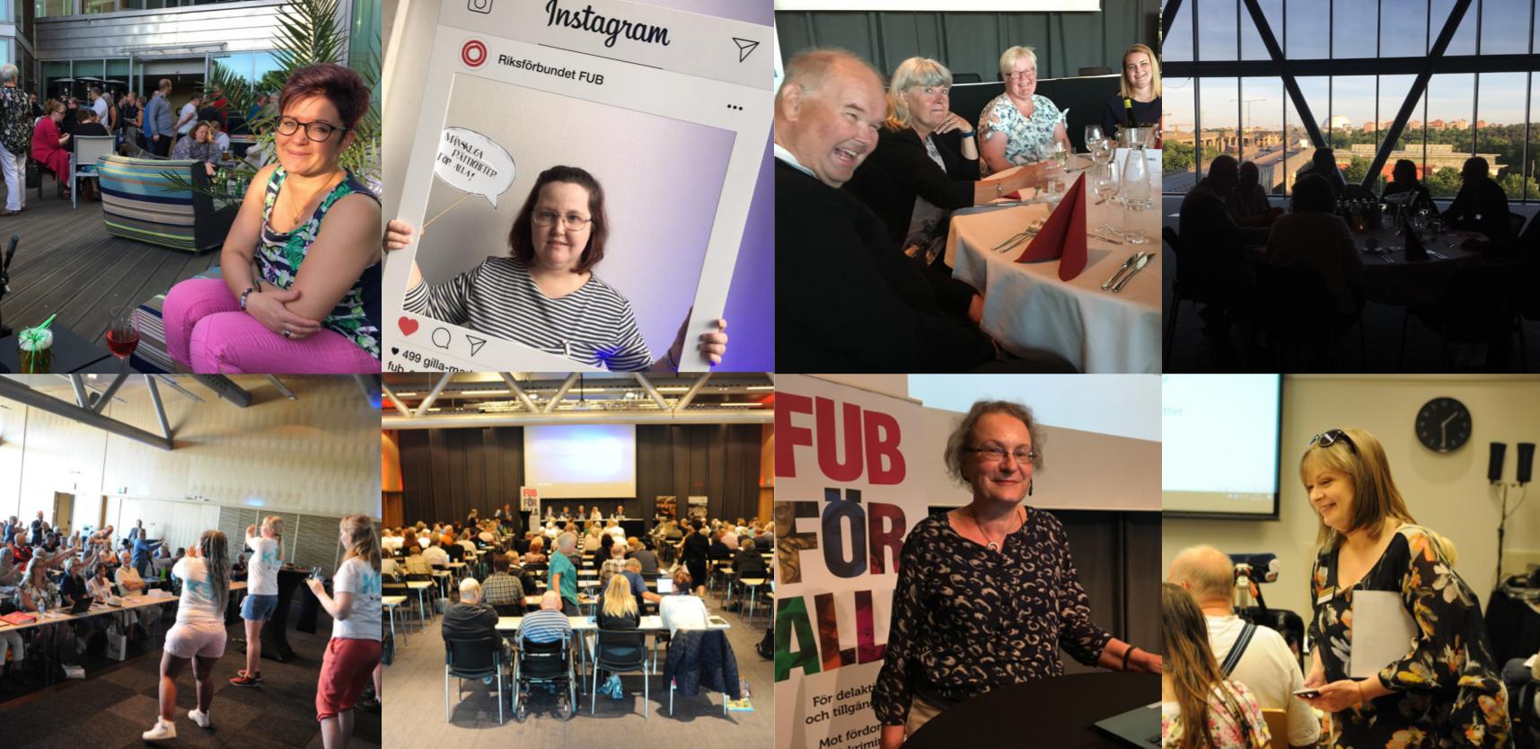 Collage av bilder från FUB:s förbundsstämma 2018