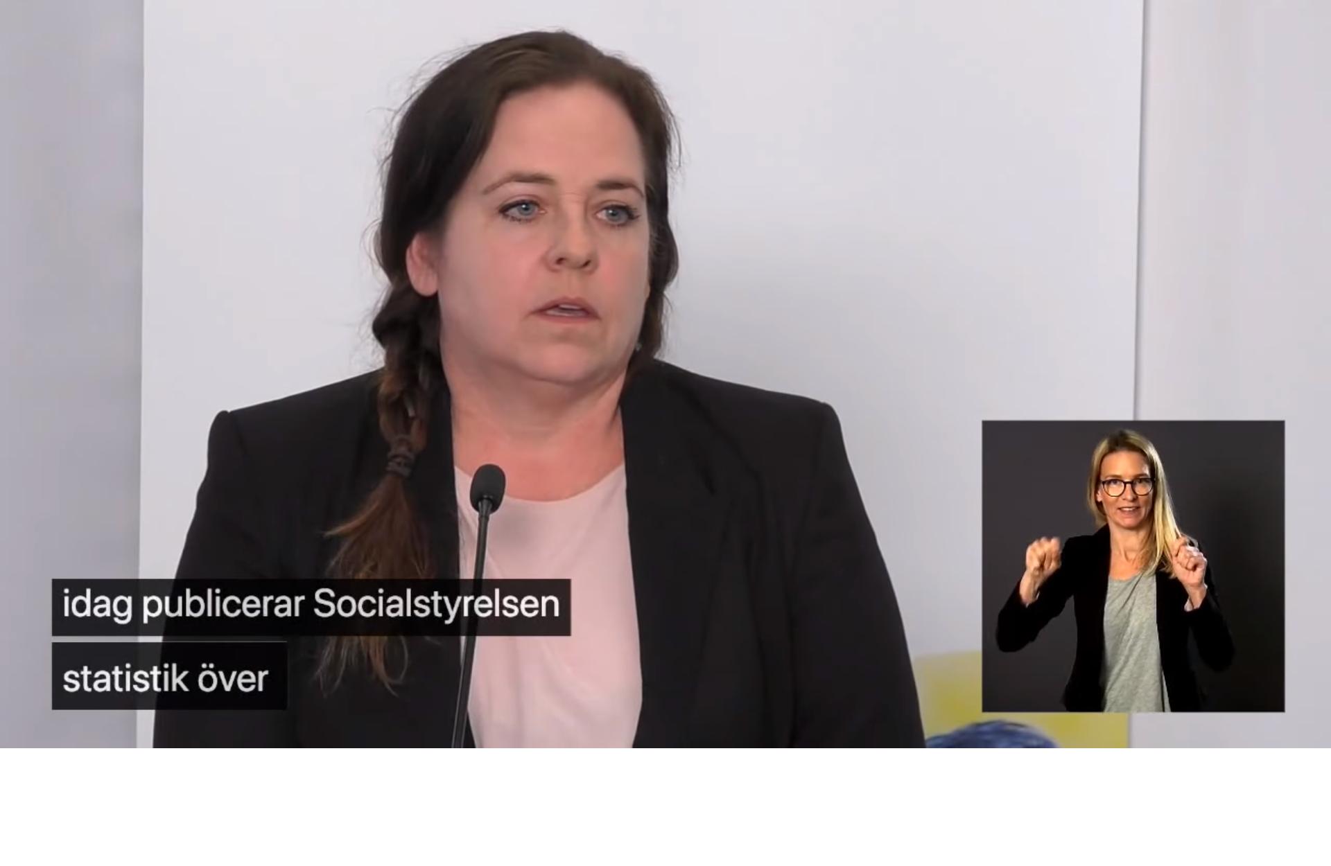 Karin Flyckt, Socialstyrelsen, på Folkhälsomyndighetens presskonferens 13 maj 2020