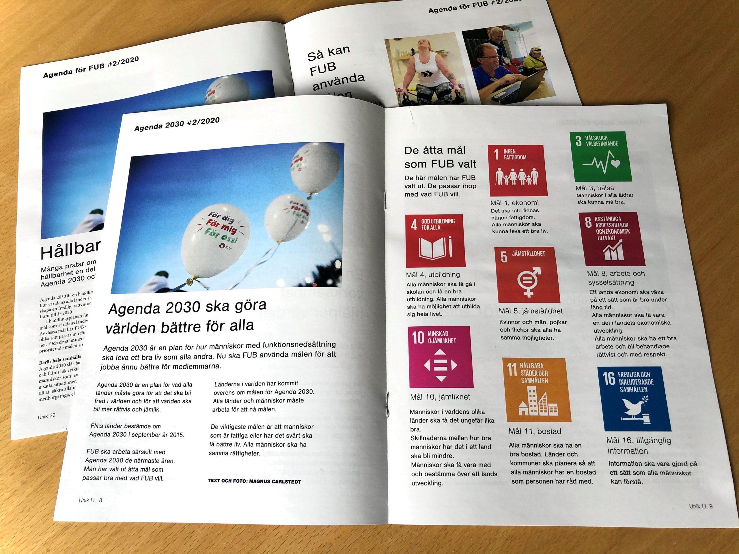 Om Agenda 2030 i Unik nummer 2 2020
