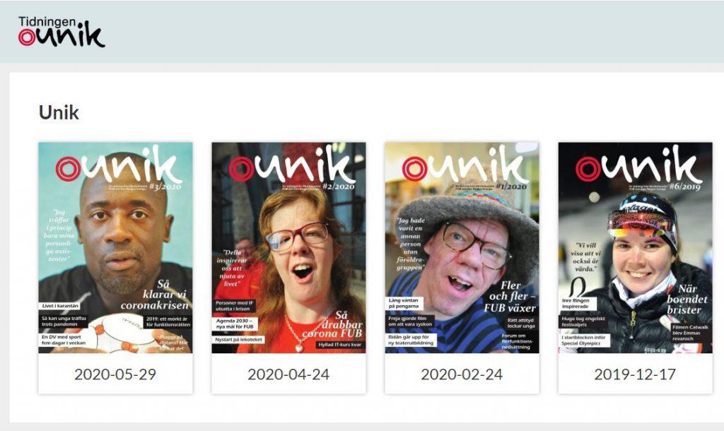 Skärmbild av tidningen Uniks webbplats, länk till www.tidningenunik.se