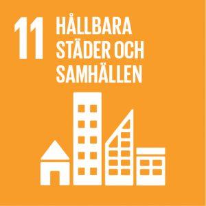 Agenda 2030 symbol för mål 11 Hållbara städer och samhällen