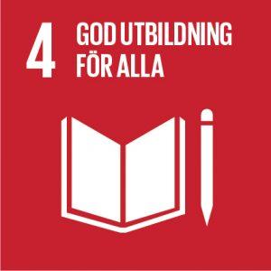 """symbol för mål 4 i Agenda 2030 """"God utbildning för alla"""""""