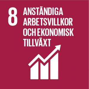 """symbol för mål 8 i Agenda 2030 """"Anständiga arbetsvillkor och ekonomisk tillväxt"""""""