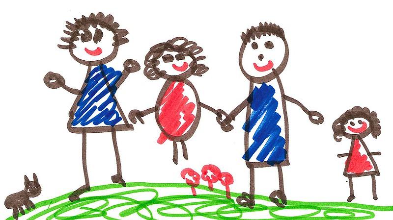 barnteckning av familj
