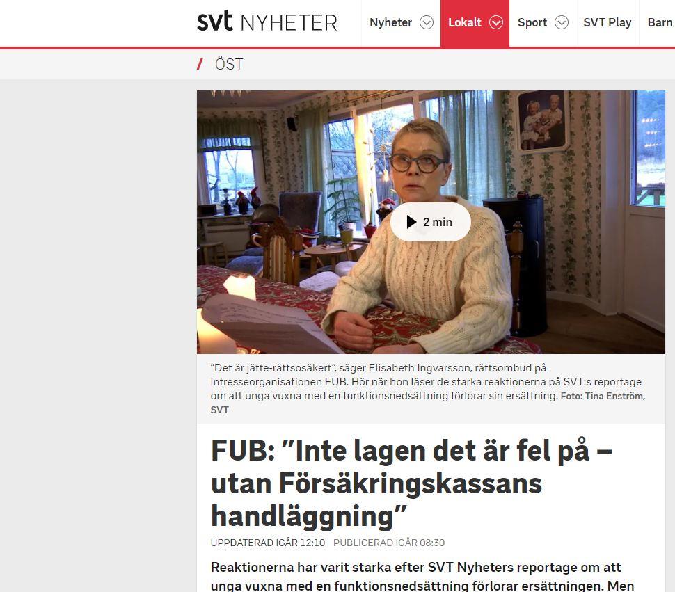 Skärmklipp från SVT Nyheter med Elisabeth Ingvarsson