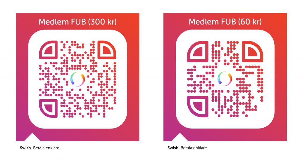 Båda Swish QR-koderna för huvudmedlemskap + familjemedlemskap i FUB