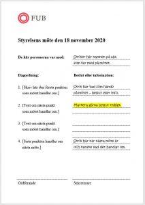 Exempel hur skriva protokoll direkt under mötet