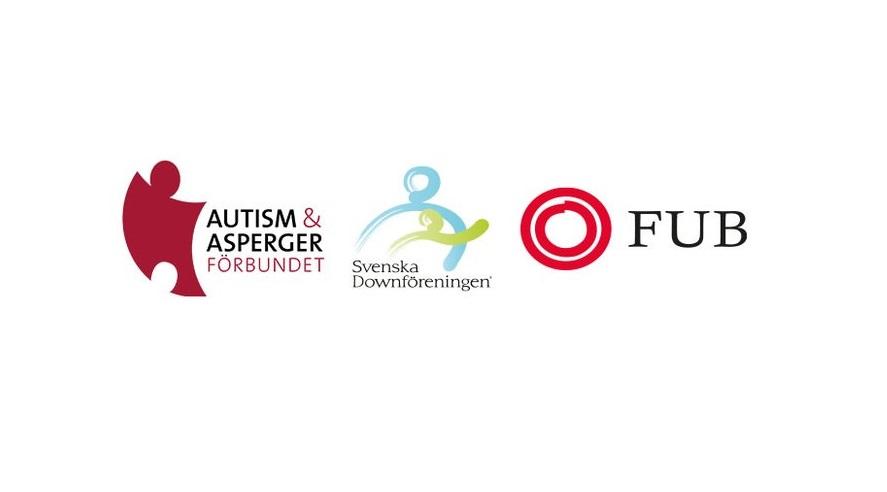 Autism- och Aspergerförbundets, Svenska Downföreningens och Riksförbundet FUB:s logotyper