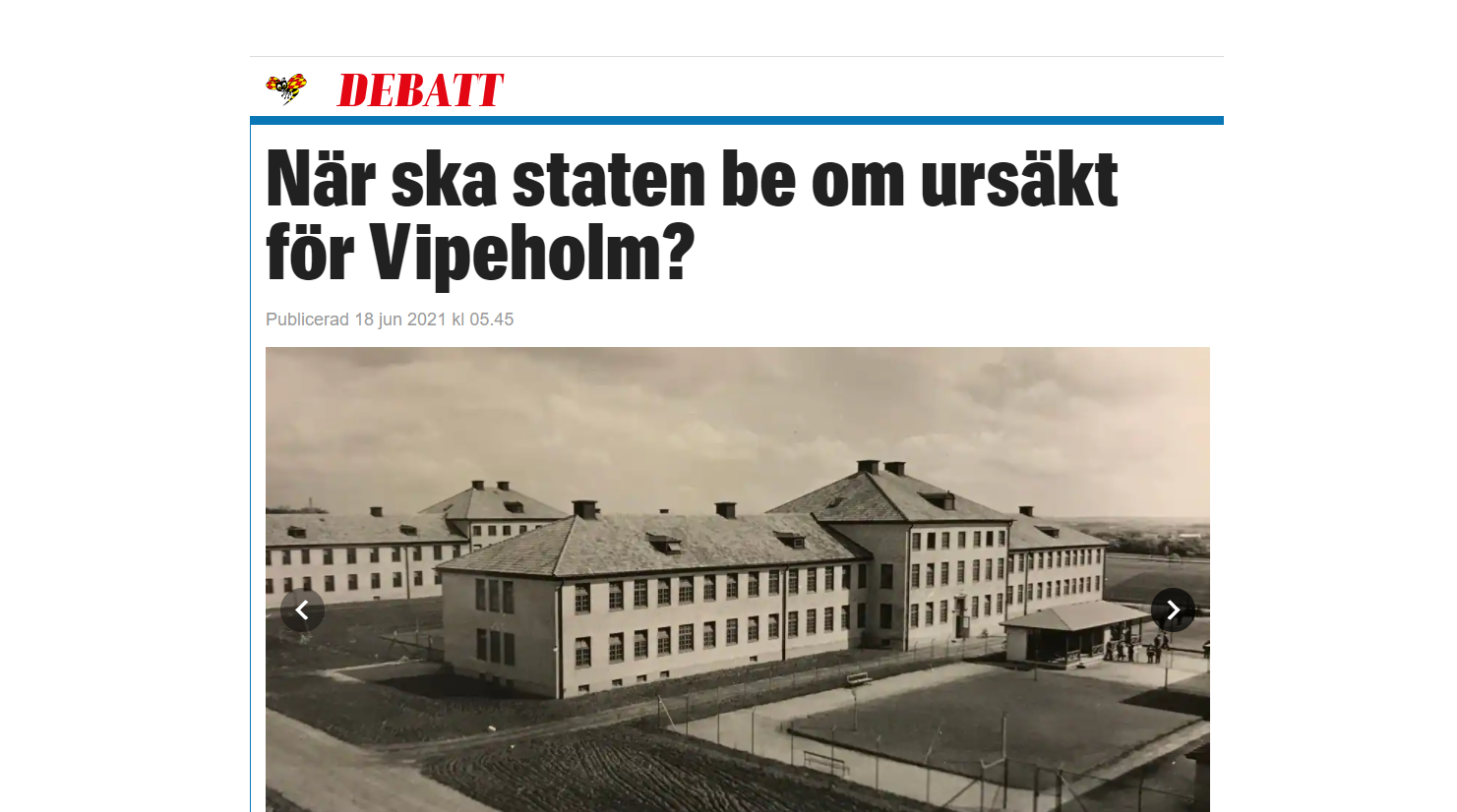 Skärmklipp Expressen debatt 18 juni 2021 debattartikel När ska staten be om ursäkt för Vipeholm?