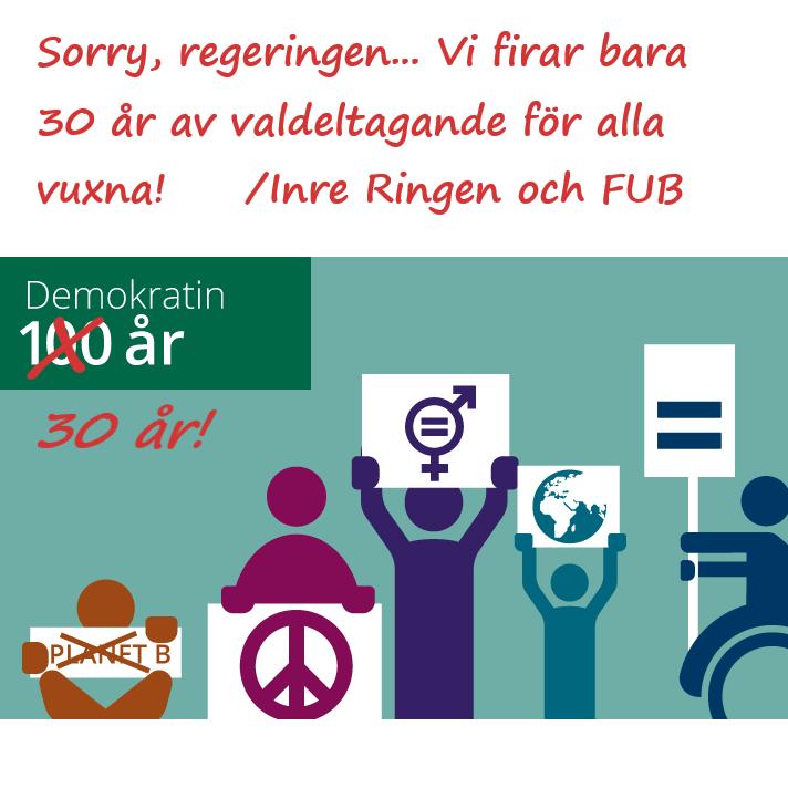 """Illustration från regeringens webbplats om Demokratin 100 år, där vi har strukit över 100 och skrivit """"30 år!"""" istället plus texten """"Sorry regeringen… Vi firar bara 30 år av valdeltagande för alla vuxna! /Inre Ringen och FUB"""""""