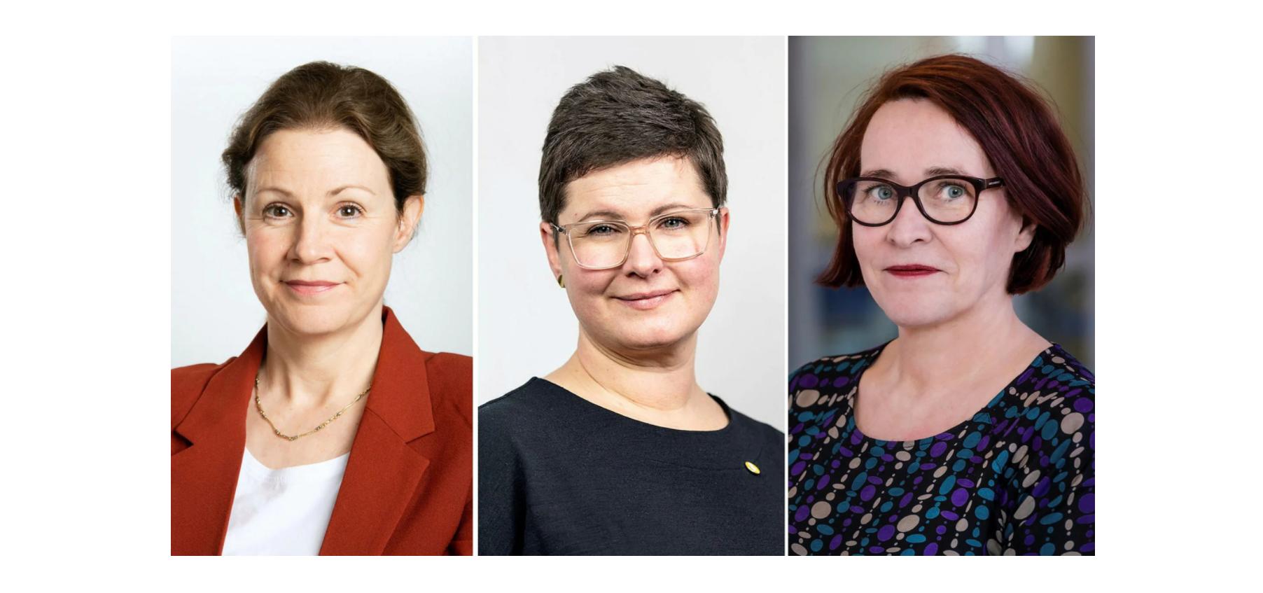 Christina Heilborn (fotograf: Charlotte Rückl), Ida Kåhlin (fotograf: Alexander Mahmoud) och Ewa Öhström-Holmqvist